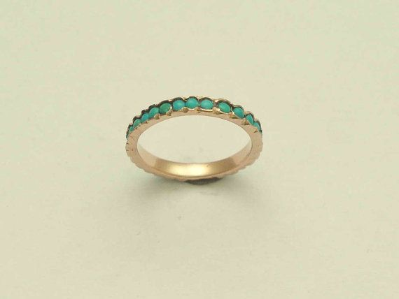 Eternity ring 14k Rose gold thin band with turquoise stones on