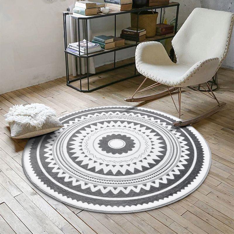 Tapis De Salon Tapis Rond Style Scandinave Tissu Melange