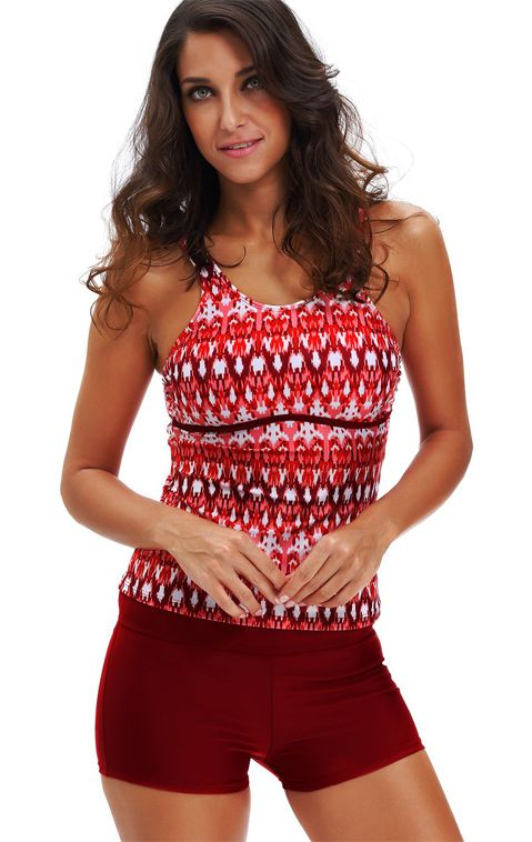 aeba363e51 Wine Red Tribal Print Tankini Top & Boyshorts Swim Bottom | My Style ...