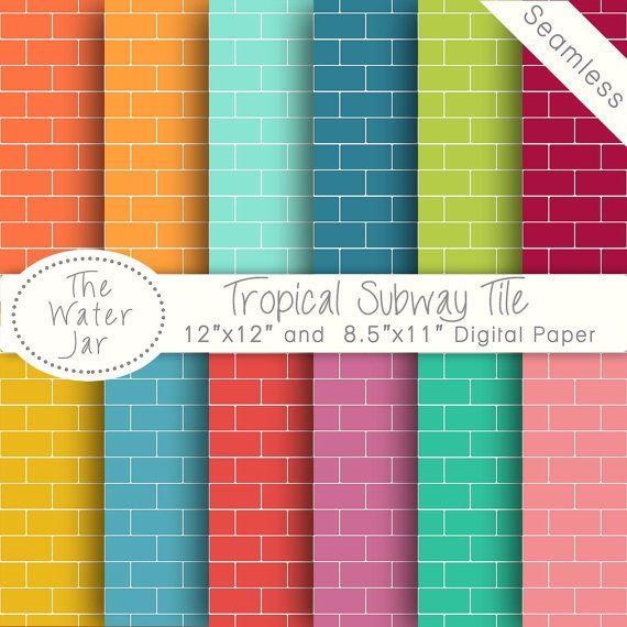 Colorful Subway Tile Digital Paper Pack, Seamless Metro ...
