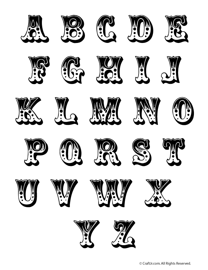CircusStyle Bubble Letters To Print And Use As Letter Templates