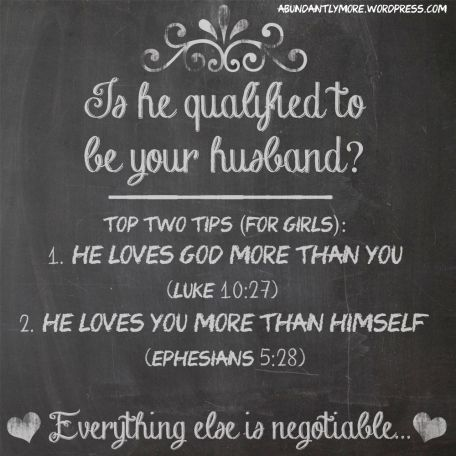 Husband Material. Add this to your Tall, Dark and Handsome list! Abundantlymore.wordpress.com