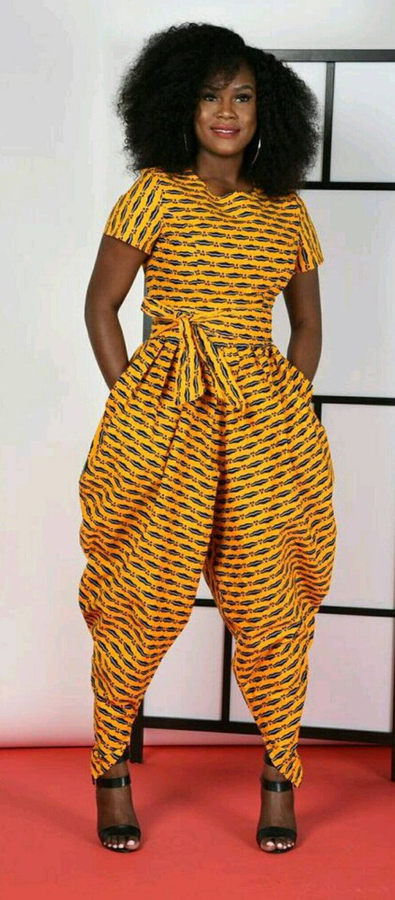3158c24b22a Yellow Harem Jumpsuit African print clothing by RAHYMA on Etsy ...