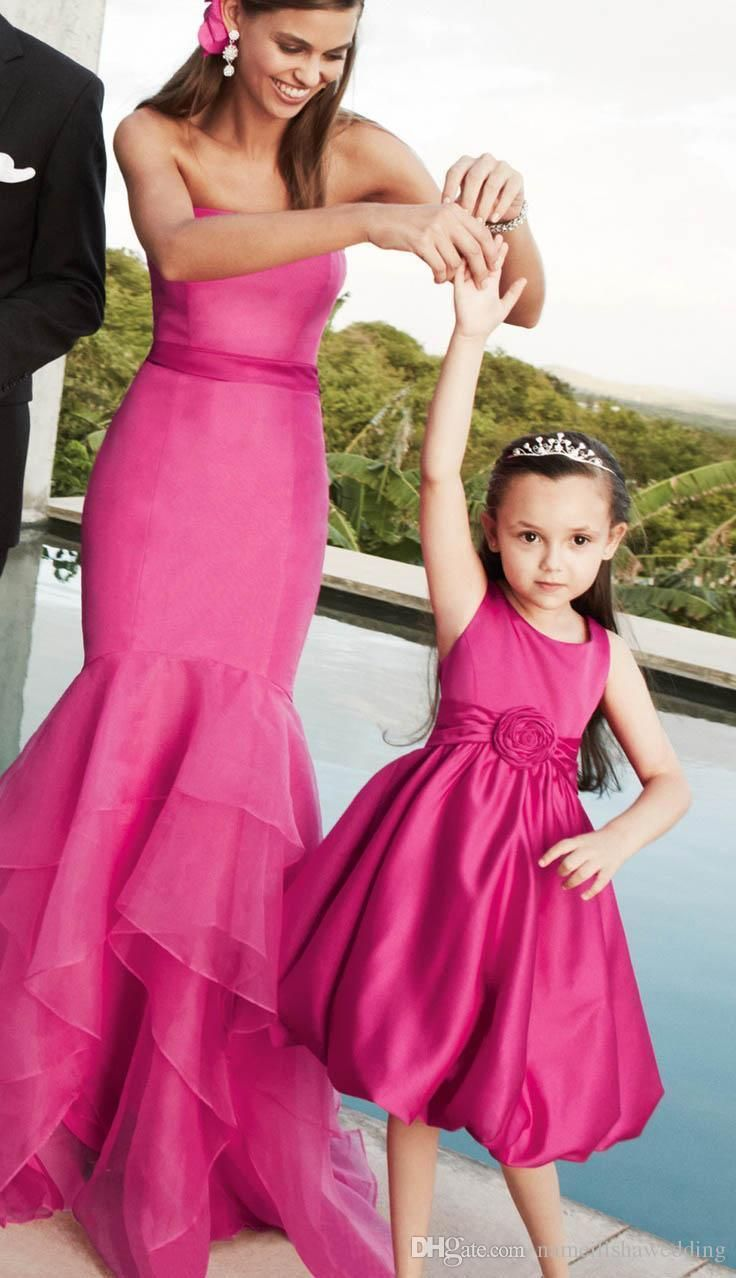 Fuchsia mermaid prom dresses mother and daughter cheap