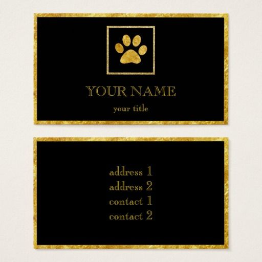 Golden Paw Print Pet Services Care Business Card