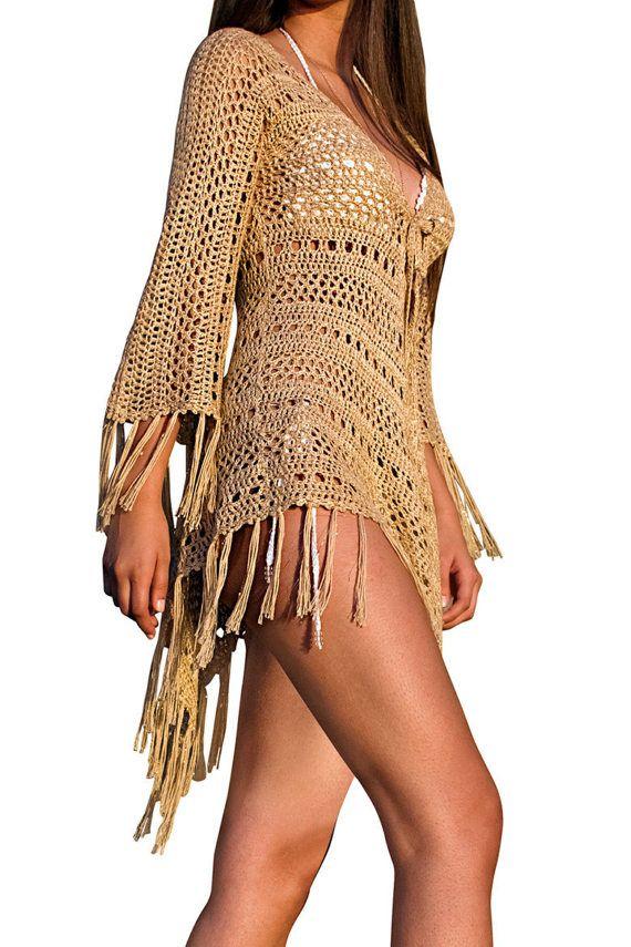 Spring Summer 2018 Jacinta Fringe Hand-Crochet Kimono in Gold ...