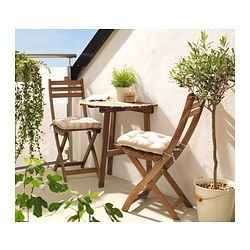IKEA - ASKHOLMEN, Chair, outdoor, Perfect for your balcony or other small spaces as the chair is easy to fold up.For added durability and so you can enjoy the natural expression of the wood, the furniture has been pre-treated with a layer of semi-transparent wood stain.