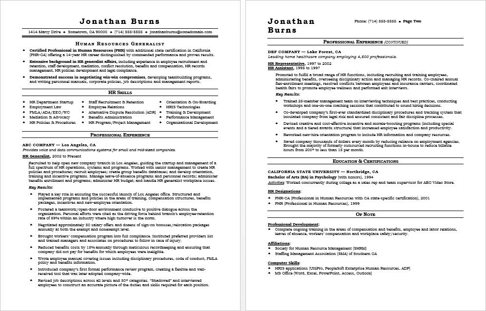 Check out this sample resume for a human resources professional.