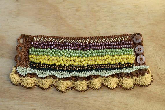 Colorful Beaded Crochet Cuff Crochet Bracelet Beaded Crochet
