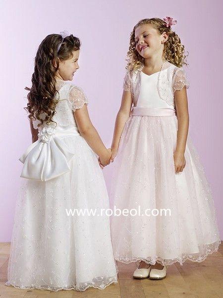Robe Cortège Fille Perle En Organza