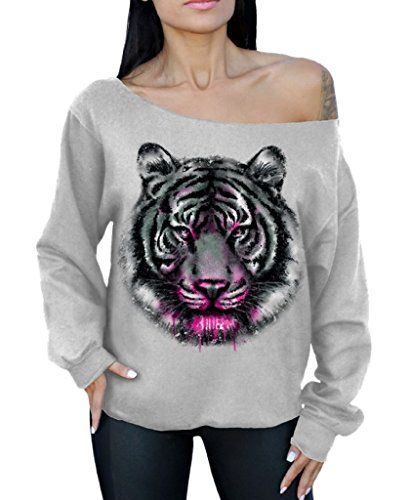 Awkwardstyles Tiger Face Off the Soulder Oversized Slouchy Animal Sweatshirt XL Gray