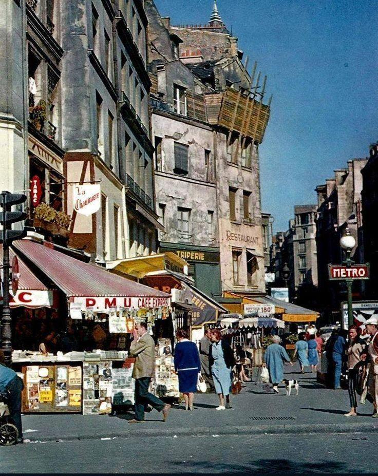 La rue beaubourg au niveu du m tro rambuteau paris en 1960 frankreich pinterest frankreich - Rue rambuteau paris ...