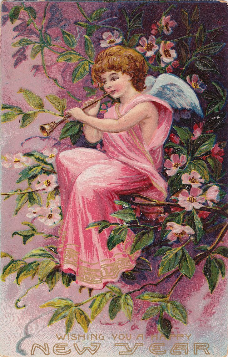 1908 Wishing You A Happy New Year Free Printables Vintage Happy New Year New Year Postcard Victorian Angels