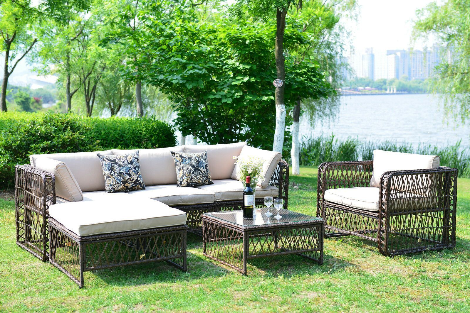 Outdoor Patio Furniture Wicker Rattan Sofa Sectional Cushioned