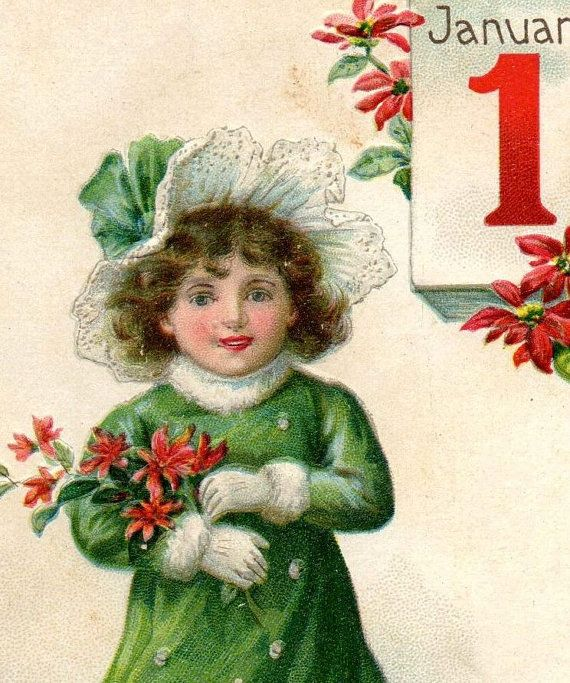 Beautiful Antique Gibson Art New Year S Greetings Postcard 1910s Med Bilder