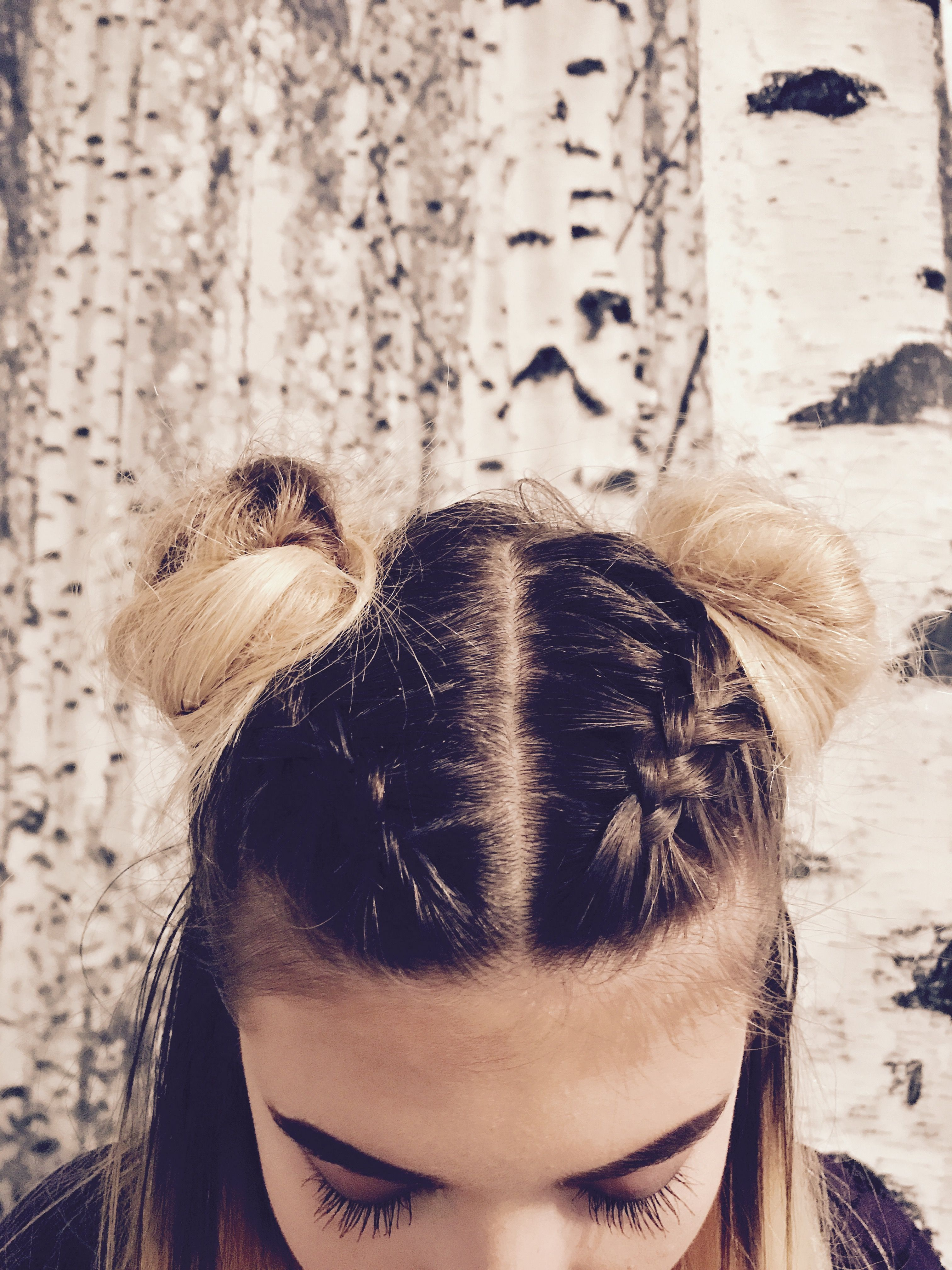 Space Buns With French Braids French Braid Hairstyles Loose Bun Hairstyles Bun Hairstyles