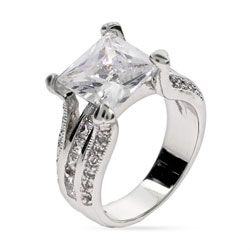 Tara's Elegant Princess Cut CZ Engagement Ring - Sterling Silver Jewelry