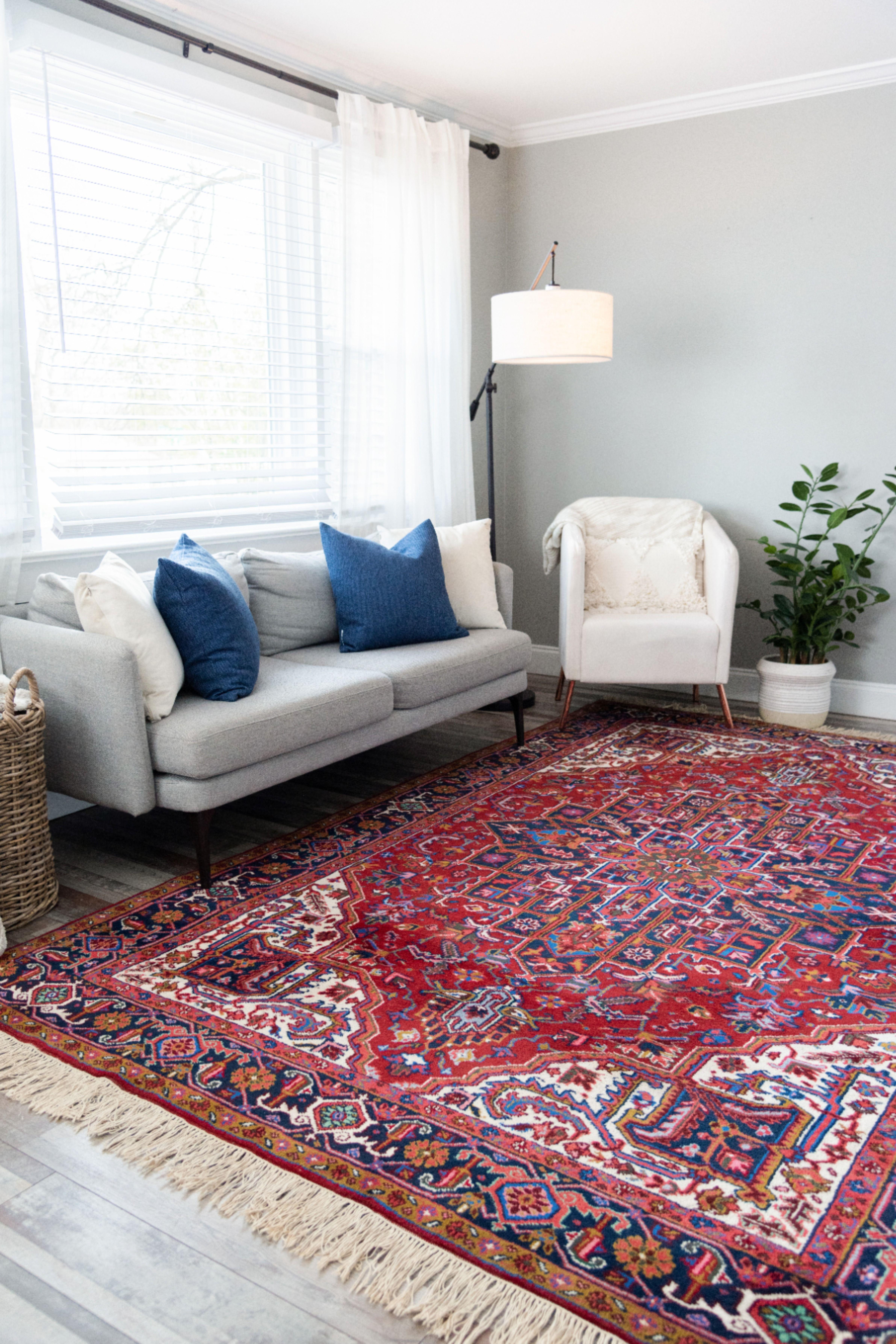 Handcraft Decor Red Persian Rug Living Room Bohemian Living Room Decor Green Sofa Living Room