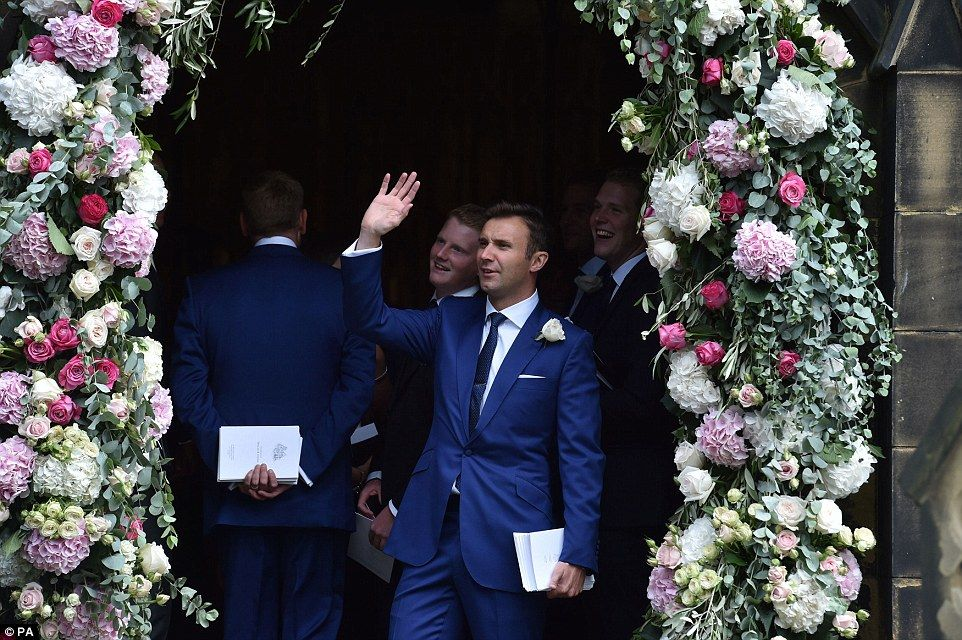 Dapper: TV presenter Jonathan Wilkes donned a blue suit for the star-studded event which w...