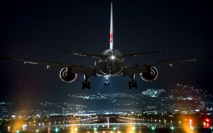 Landscape Night Airport Airplane Lights Landing Technology