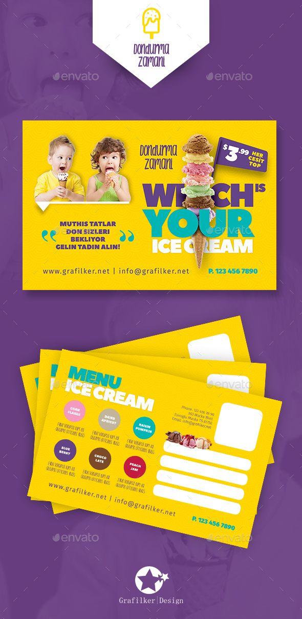 ice cream postcard templates cards invites print templates