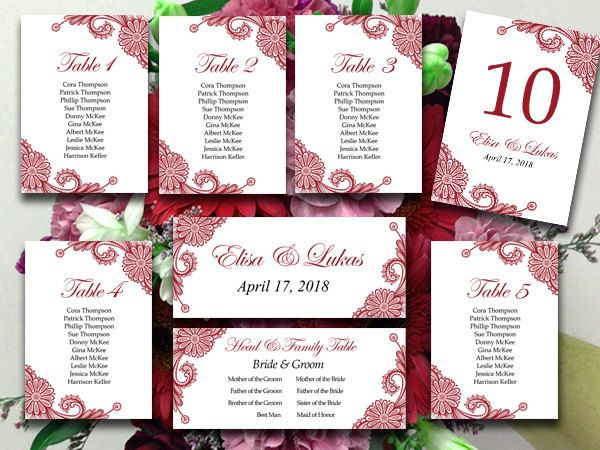 Lace Wedding Seating Chart Template - Burgundy Table Number  - number chart template
