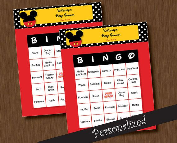 Instant Download   Mickey Mouse BINGO   100 Baby Shower BINGO Games    Unique Printable Personalized Cards DIY
