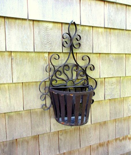 Vintage Black Wrought Iron Wall Basket By