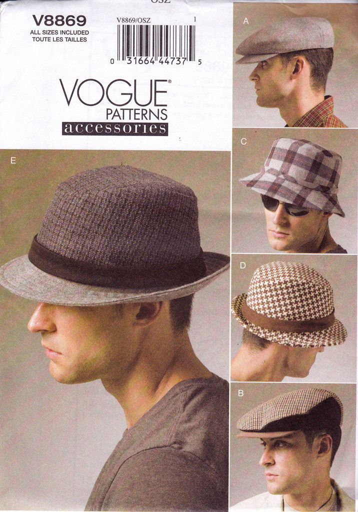 Mens Hats Caps Pattern Vogue 8869 Sewing Pattern Size S M L XL UNCUT ...