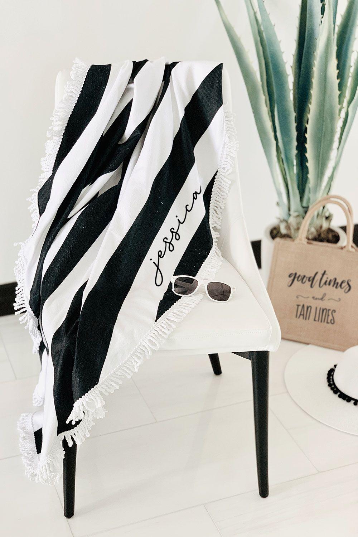 Personalized Round Towel Black Stripe In 2019 Beach