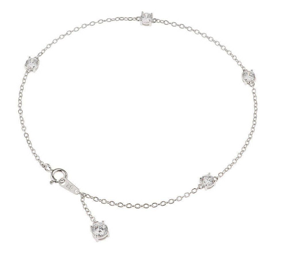 QVC Epiphany Platinum Clad Diamonique 9 Inch Round Ankle Bracelet $300