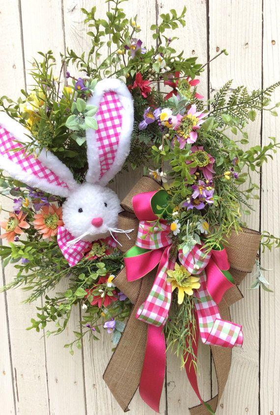 Easter Bunny Wreath Bunny Wreath Easter Wreath Spring by Keleas