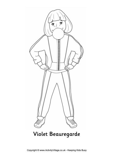 Violet Beauregarde Colouring Page Chocolate Factory Charlie
