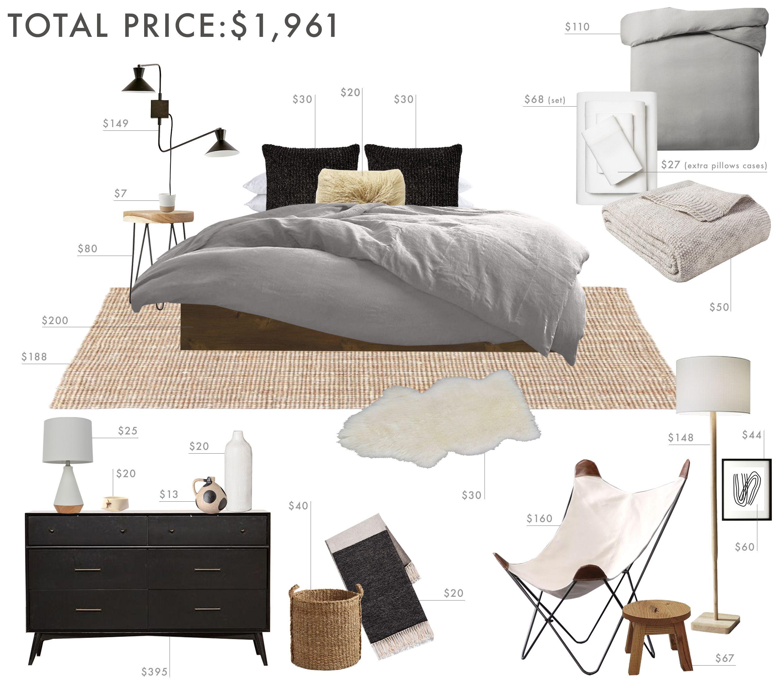 Emily Henderson Budget Room Bedroom Rustic Scandinavian Under 2k 1 In 2020 Guest Bedroom Decor Romantic Bedroom Decor Bedroom Design
