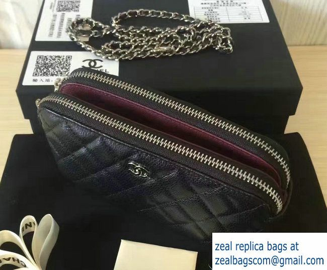 8be6be19c306 Chanel Double Zipped Small Clutch Chain Bag A82527 Grained Calfskin  Black/Silver 2016