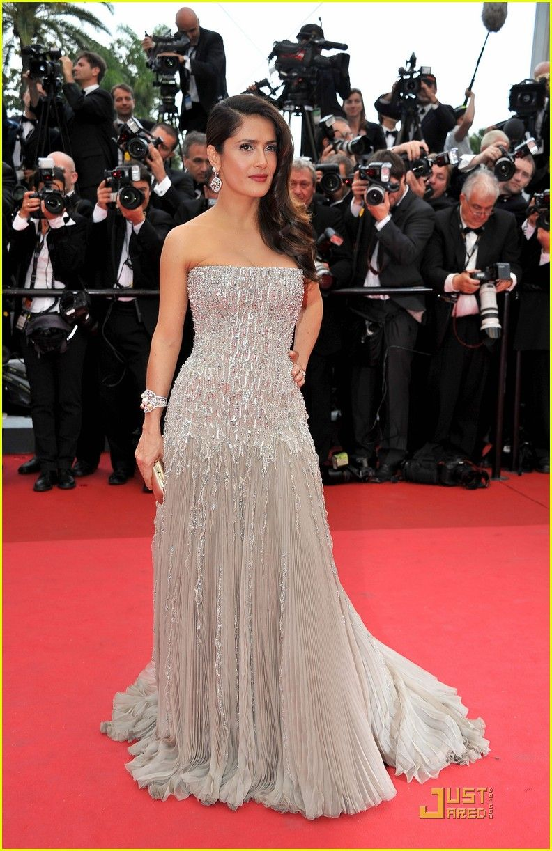 Salma Hayek in strapless Gucci gown with beaded corset | Will you ...