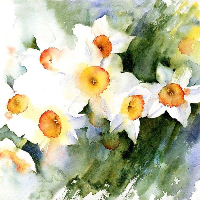 'Sunny Narcissus' Scarf by artbyrachel Smoke art, Giclee