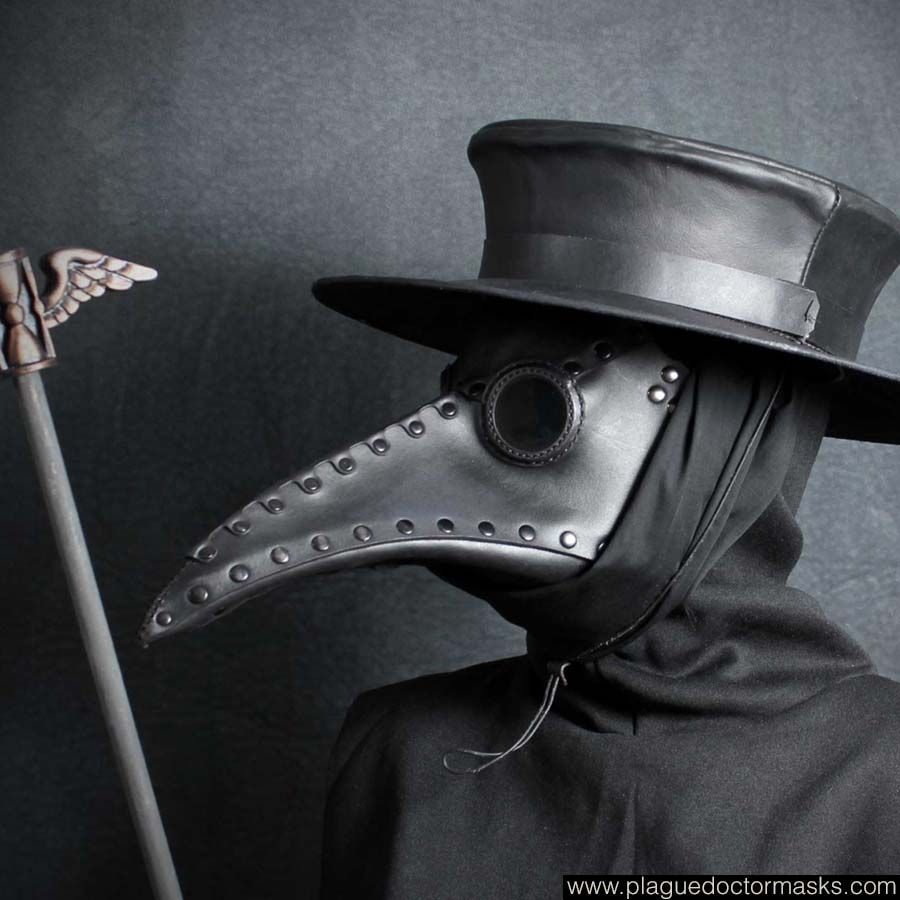 Black Plague Doctor/'s mask w//leather strap Halloween costume or choose color