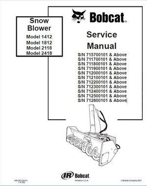 Bobcat 1412, 1812, 2118, 2418 Snowblower Service Repair