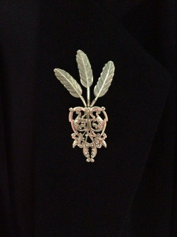7243828521c2 Boutonniere brooch lapel pin unisex pin silver leaf boutonniere pin leaf pin  mens silver pin wedding