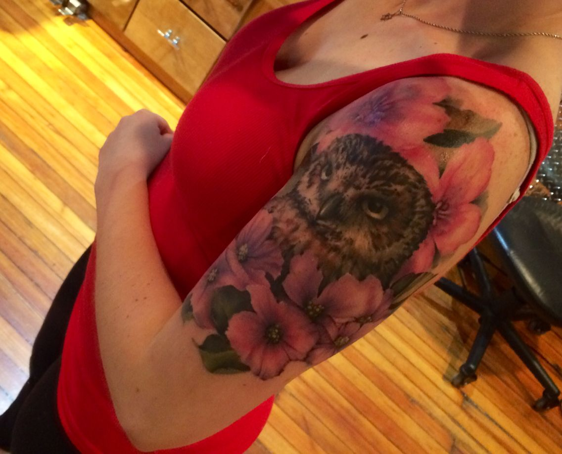 My Owl Tattoo Done By Petezebley In Philly Owl Tattoo Flower Tattoo Tattoos