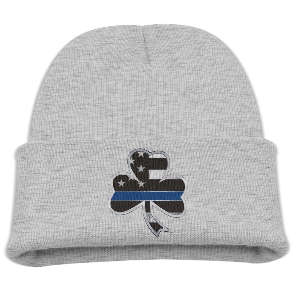 237787ce24ab64 Thin Blue Line Metallic Reflective Shamrock Unisex Kids Warm Winter Hat  Knit Beanie Skull Cap Cuff