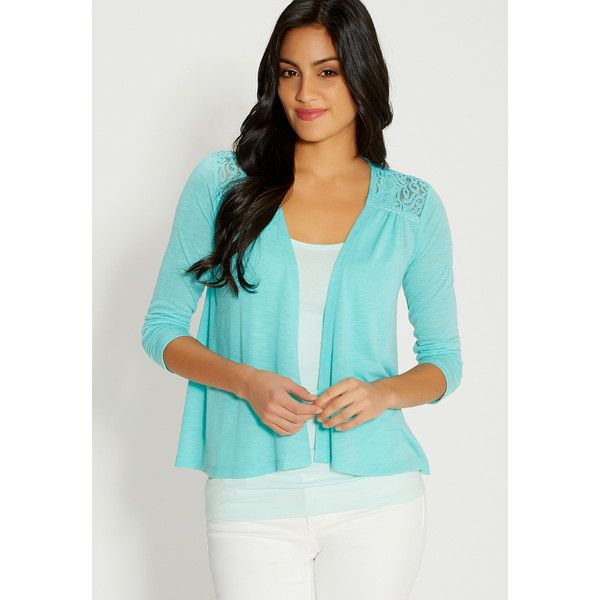 maurices Lightweight Cardigan With Lace ($29) ❤ liked on Polyvore ...