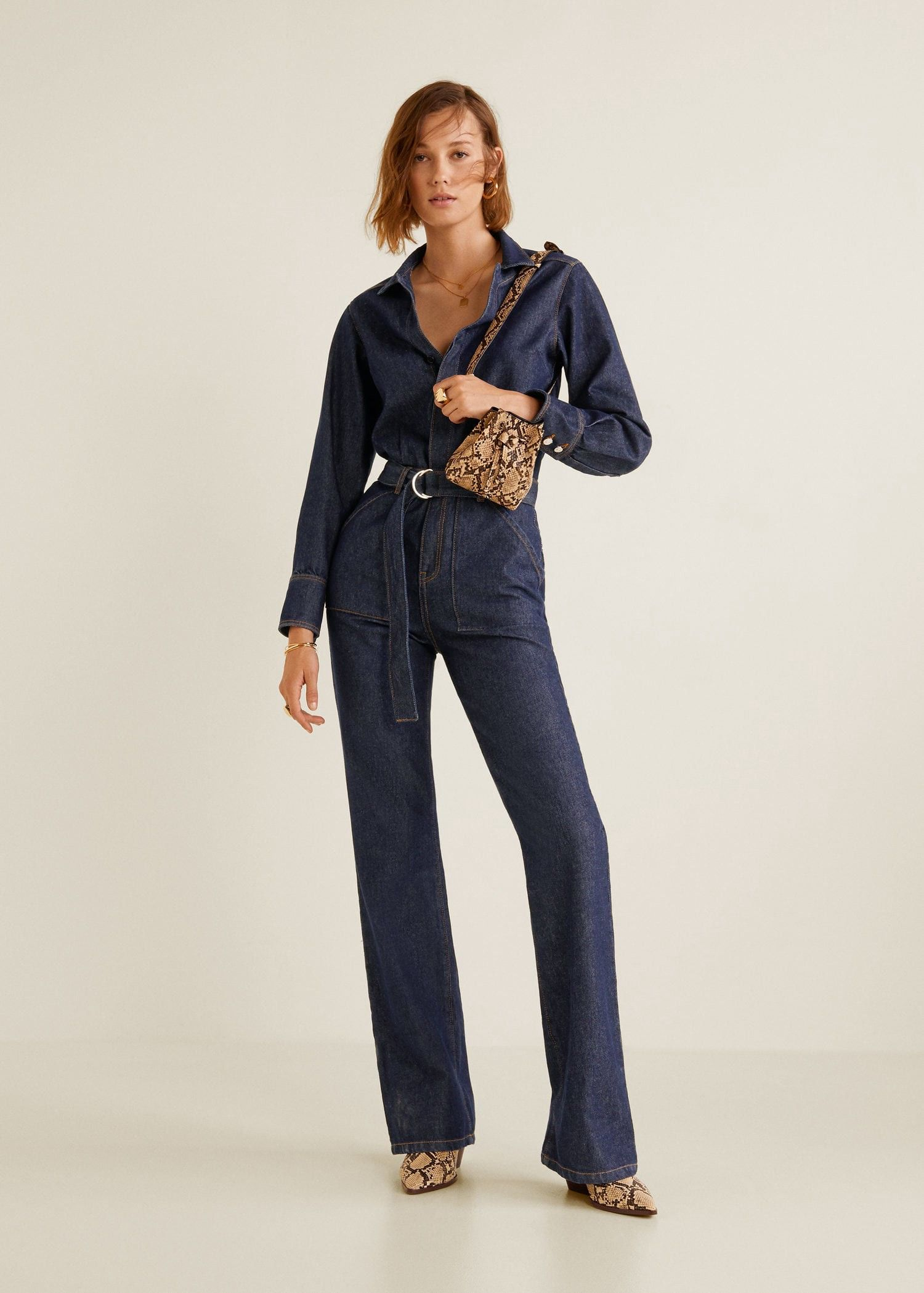 2c50f15bd35 Mango Belt Denim Jumpsuit - XXS