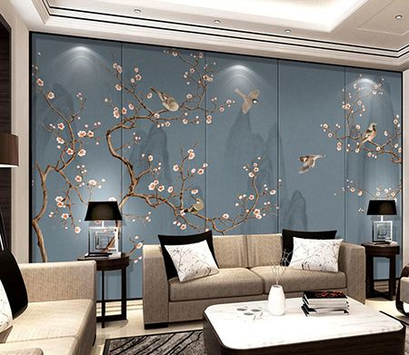 tapisserie asiatique paysage avec les fleurs et les oiseaux sur fond bleu gris tableaux et. Black Bedroom Furniture Sets. Home Design Ideas