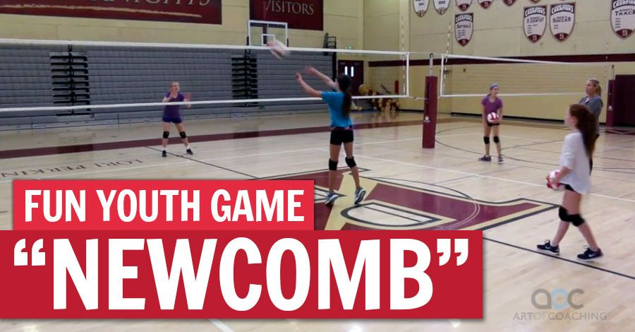 Newcomb A Fun Game For Volleyball Beginners Coaching Volleyball Volleyball Drills Youth Volleyball