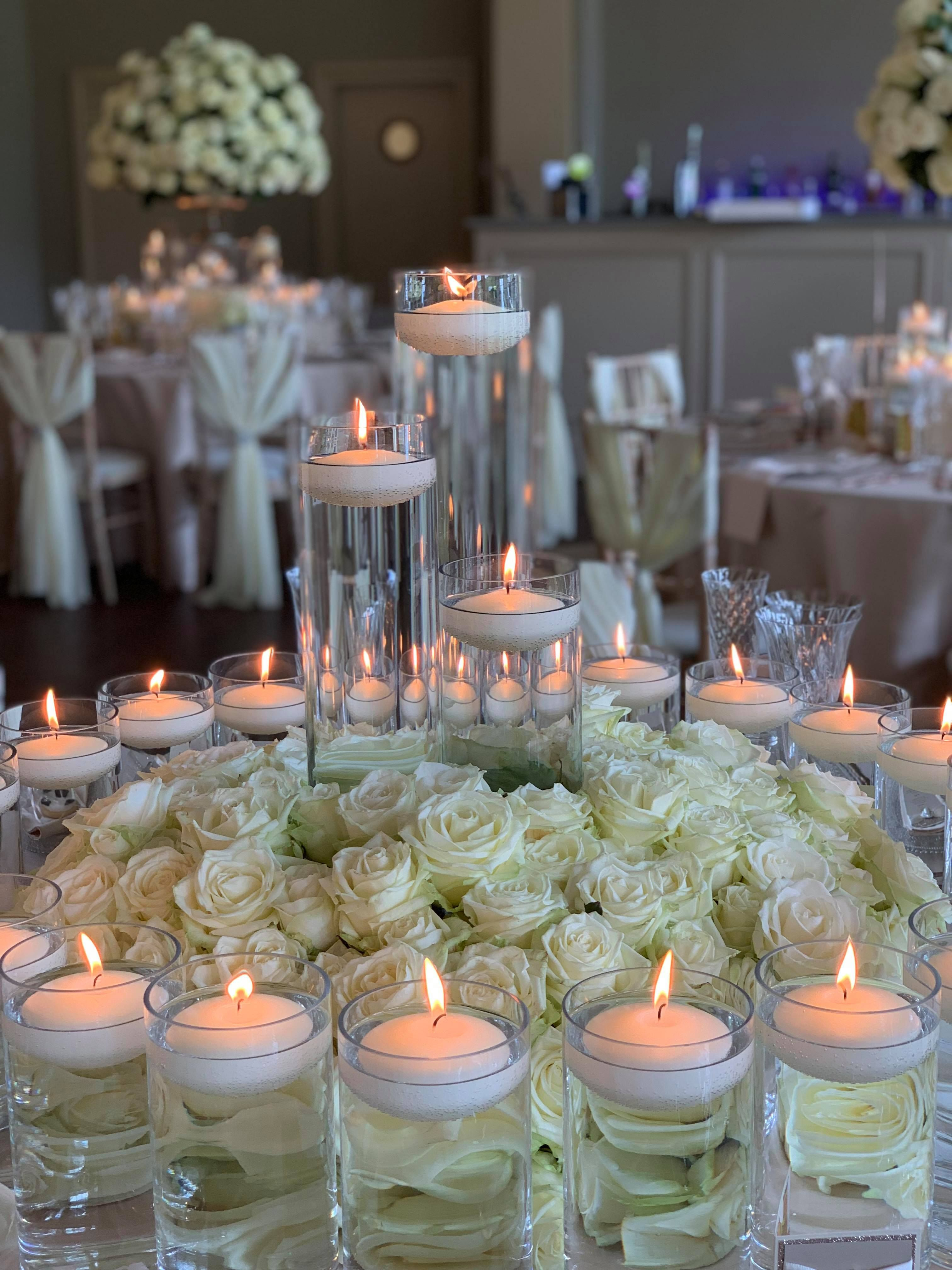 Rose Mound Floating Candle Centerpieces Christmas Table Decorations Floating Candles