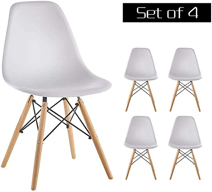 Amazon Com Homy Grigio Dining Chairs Dsw Chairs Mid Century Modern Style Chairs Plastic Chai In 2020 Modern Style Chairs Mid Century Modern Chair Modern White Chairs