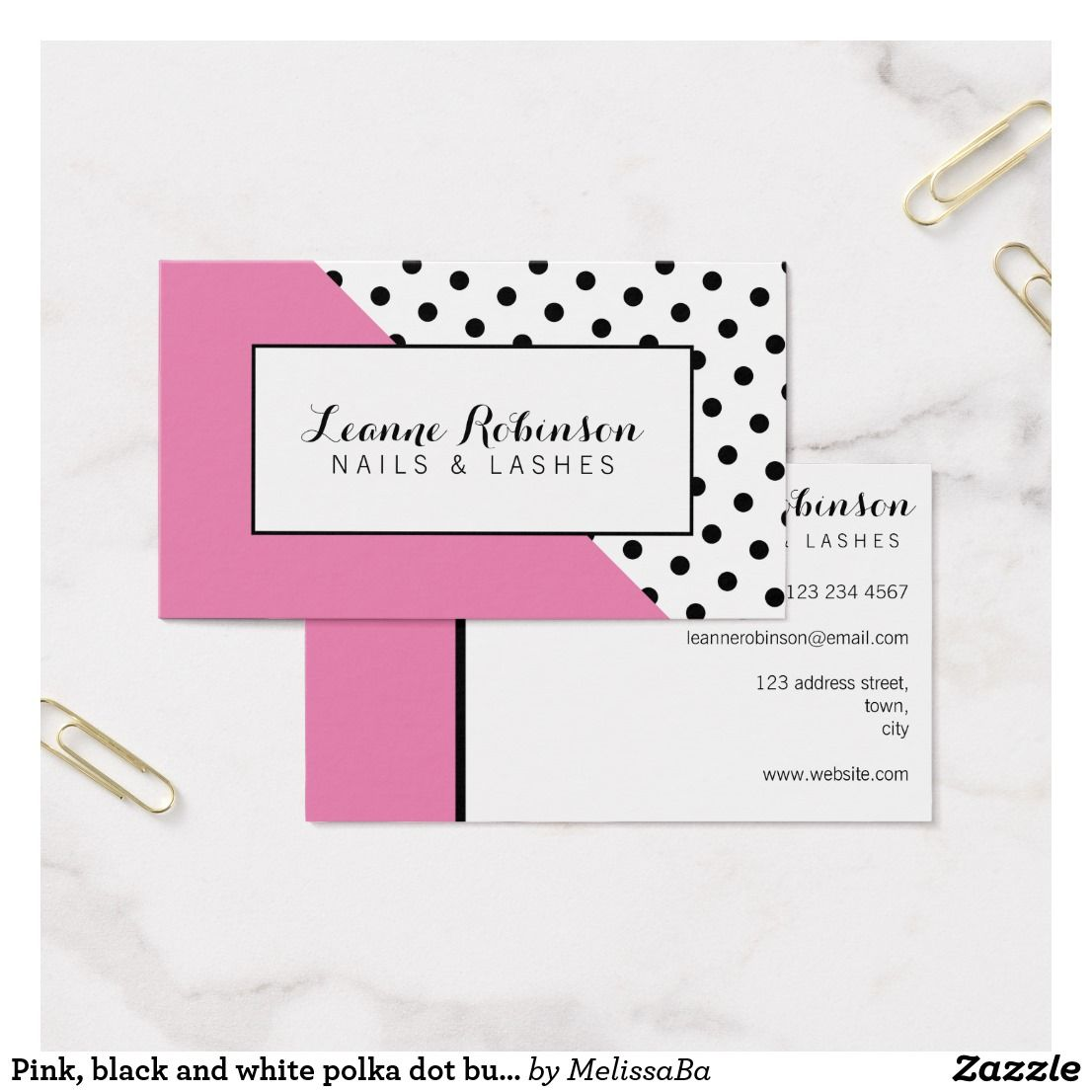 Pink, black and white polka dot business card | Business | Pinterest ...