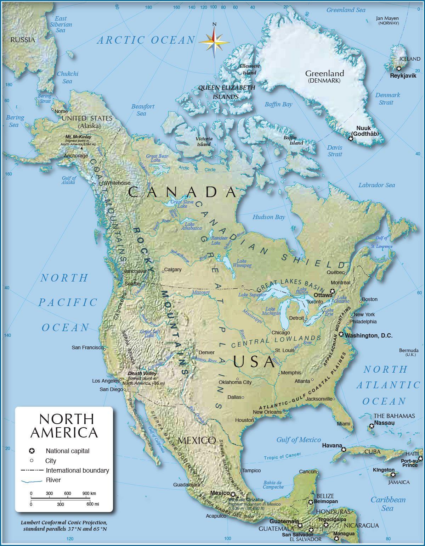 Shaded Relief Map Of North America 1200 Px Nations Online Project Kanada Vereinigte Staaten Karten